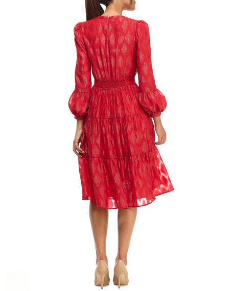 Gal Meets Glam Collection Ikat Jacquard V-Neck Puff-Sleeve Tiered Chiffon Dress