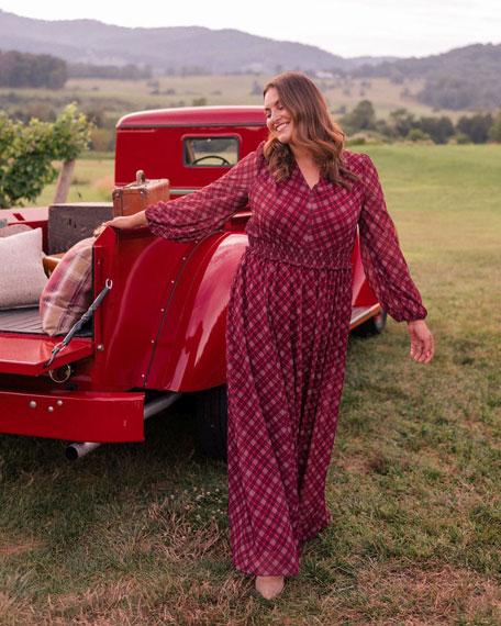 Gal Meets Glam Collection Tartan Plaid Printed Long-Sleeve Chiffon Maxi Dress