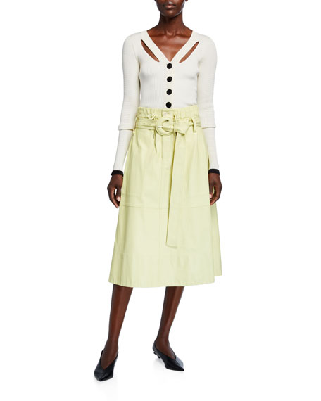 Proenza Schouler White Label Belted Leather Midi Skirt