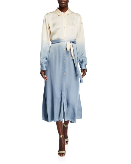 Forte Forte Deep-Dyed Satin Belted Shirtdress