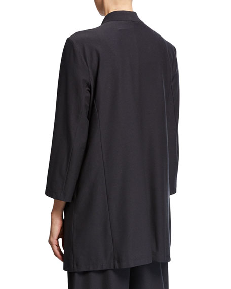 Image 2 of 2: Eileen Fisher Open-Front 3/4-Sleeve Lightweight Stretch Crepe Jacket