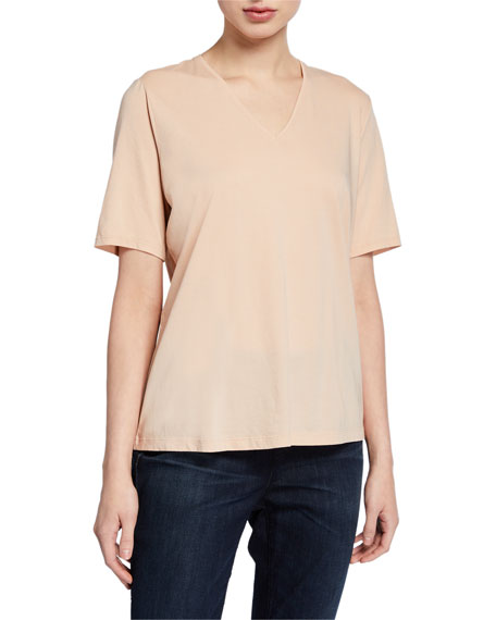 Eileen Fisher Plus Size Organic Cotton V-Neck Short-Sleeve Jersey Tee