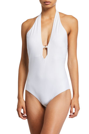Letarte Laguna Plunging Halter One-Piece Swimsuit