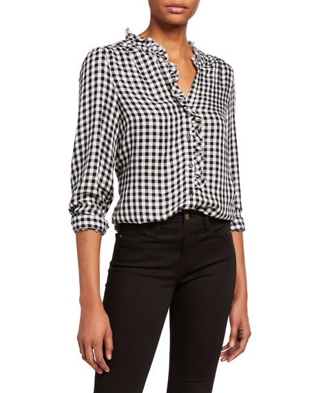 PAIGE Aurelie Gingham Frilled Shirt