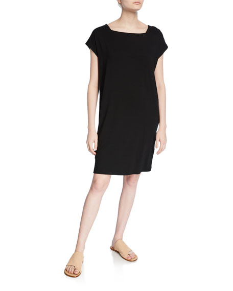 Eileen Fisher Square-Neck Short-Sleeve Jersey Shift Dress