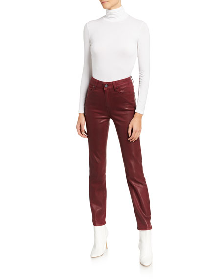 PAIGE Cindy Coated Straight-Leg Jeans with Split Outseams