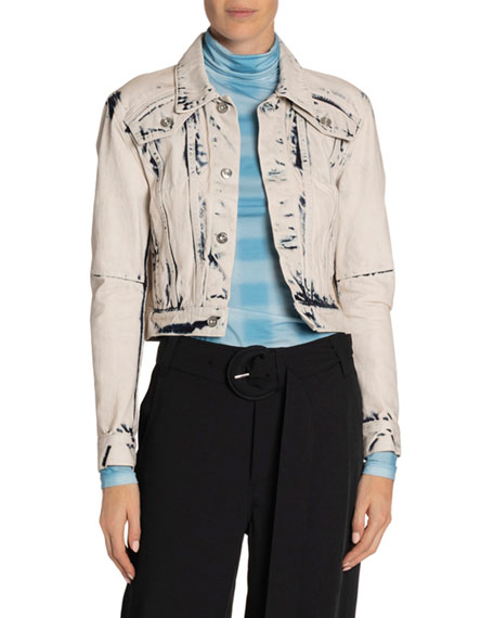 Image 1 of 2: Proenza Schouler White Label Cropped Denim Jacket