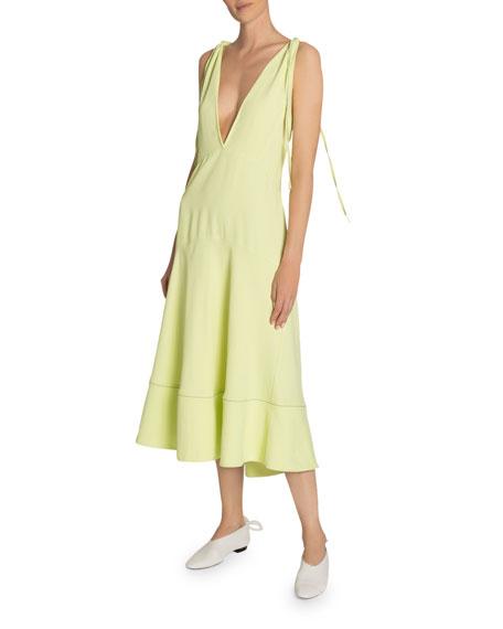 Proenza Schouler White Label Plunging Shoulder-Tie Sleeveless Midi Dress