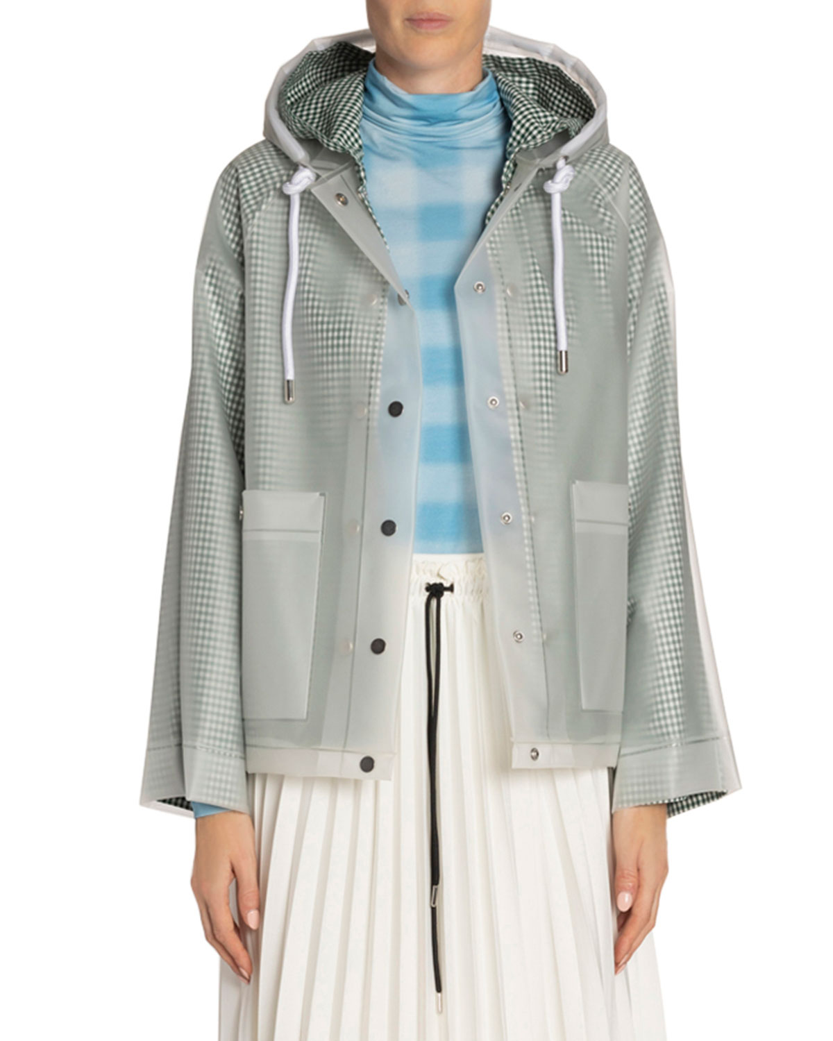 Proenza Schouler White Label Gingham-Lined Logo Short Raincoat