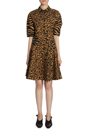 Proenza Schouler White Label Animal-Print Cotton Short-Sleeve Dress