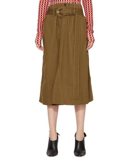 Proenza Schouler White Label Belted Drawstring Cotton Skirt