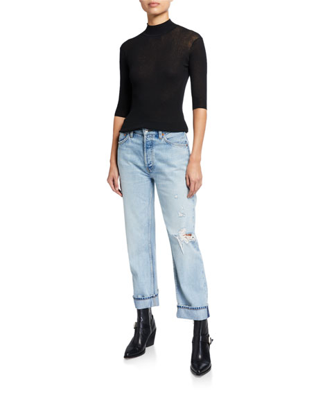 RE/DONE 90s Loose Straight-Leg Jeans with Cuff