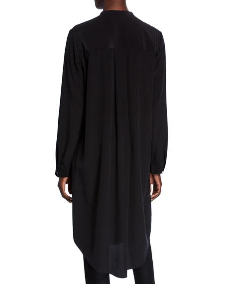 Eileen Fisher Petite Silk Crepe Button-Front Long Shirtdress w/ Mandarin Collar