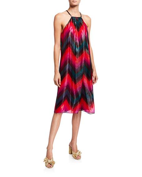 Trina Turk Metallic Chevron Striped Trapeze Halter Dress