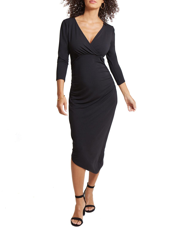 Ingrid & Isabel Maternity Solid 3/4-Sleeve Asymmetric Hem Dress