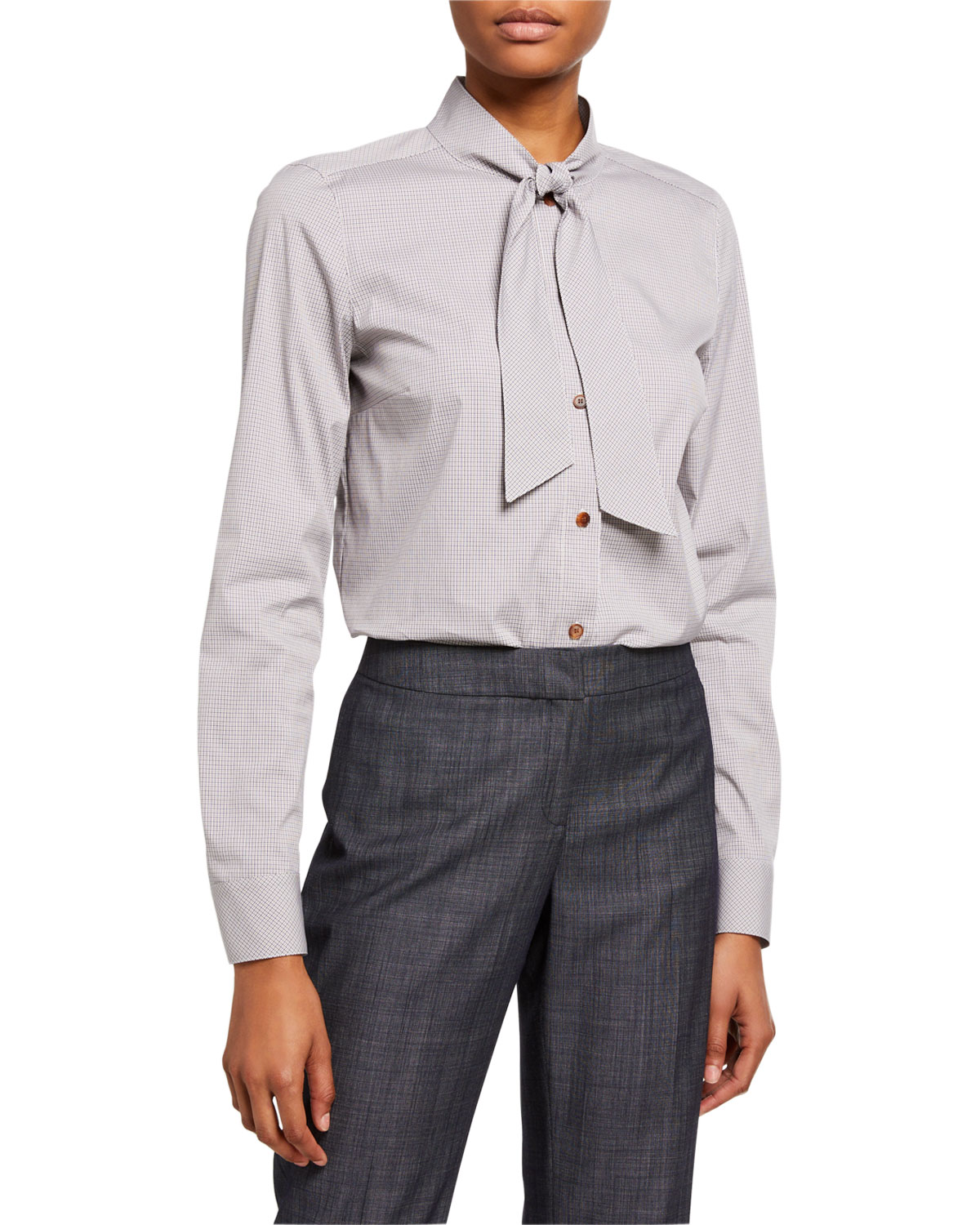 Lafayette 148 New York Vivian Downtown Mini Grid Shirting Blouse