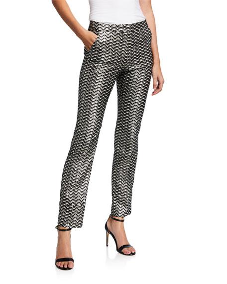 Trina Turk Banshee Metallic Straight-Leg Pants