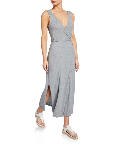 V-Neck Sleeveless Jersey Wrap Dress