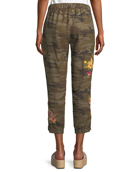 Johnny Was Vella Embroidered Linen Jogger Pants