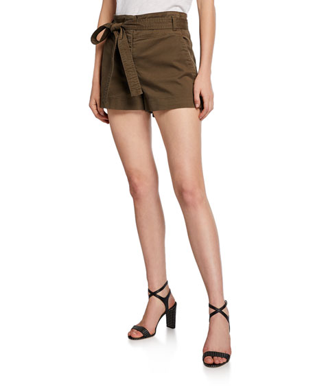 Veronica Beard East Tie-Waist Stretch-Cotton Shorts