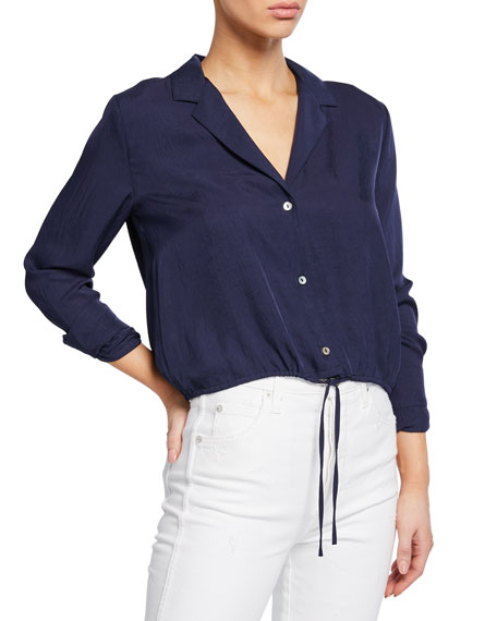 Vince Button-Front Long-Sleeve Drawstring Crop Shirt