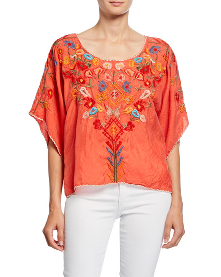 Johnny Was Lombriga Embroidered Scoop-Neck Cupro Blouse