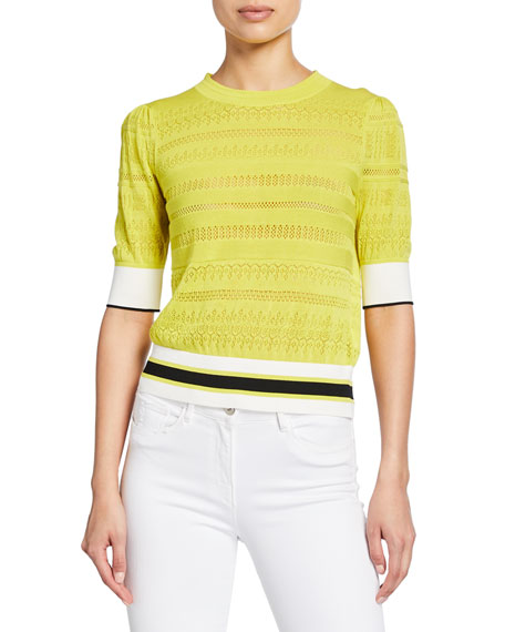 Tanya Taylor Leticia Banded Striped Sweater