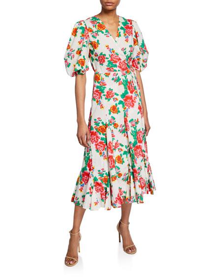 Rhode Fiona Puff-Sleeve Floral Wrap Dress