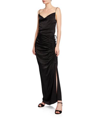 Natasha Cowl-Neck Sleeveless Ruched Satin Dress