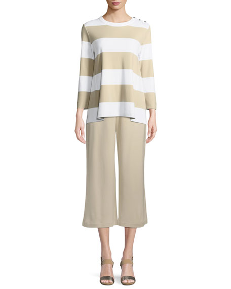 Joan Vass Cropped Cotton Interlock Wide-Leg Pants