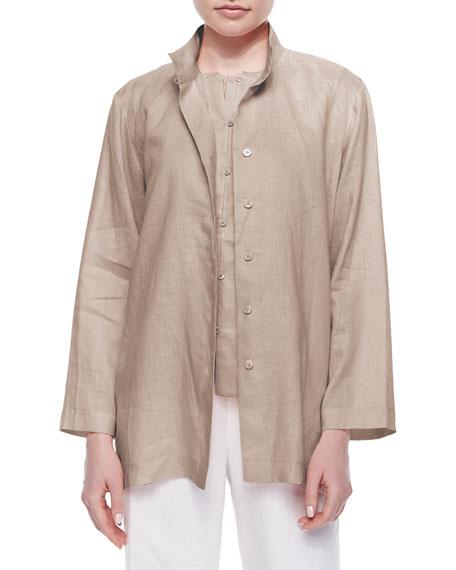 Go Silk Plus Size Linen Button-Front Jacket