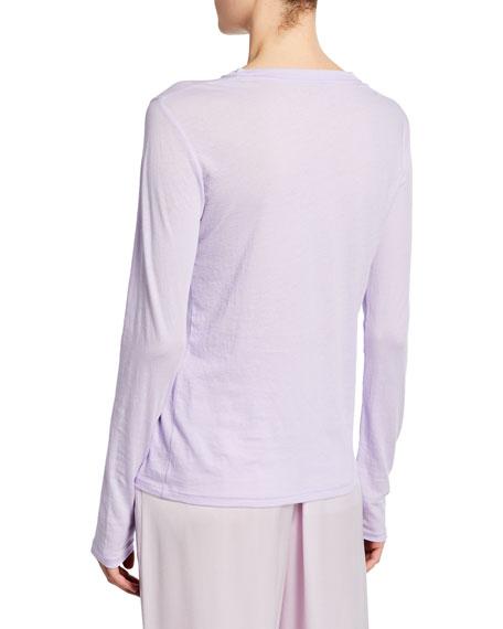 Vince Essential Crewneck Long-Sleeve Combed Cotton T-Shirt