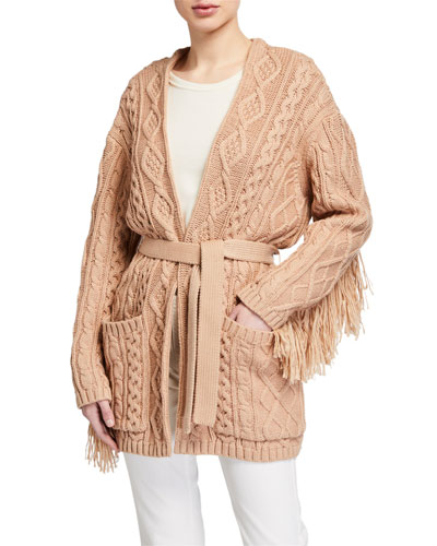 Willow Cable-Knit Cardigan with Tassels