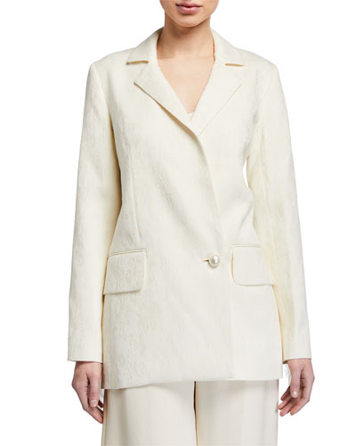 Maddox Jacquard Tailored Jacket w/ Fringe