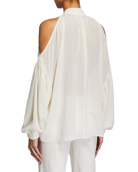 Image 2 of 2: Mother of Pearl Gladys Blouse w/ Shoulder Trim & Neck Tie