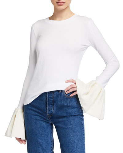 Alex Long-Sleeve Top w/ Jacquard Ruffle Cuffs