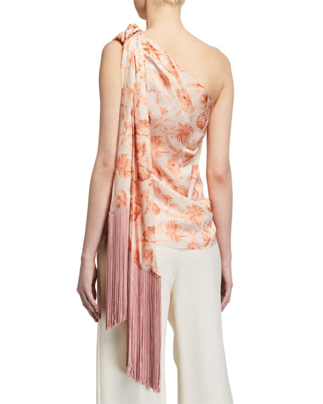 Image 2 of 2: Mother of Pearl Isla One-Shoulder Top w/ Tassel