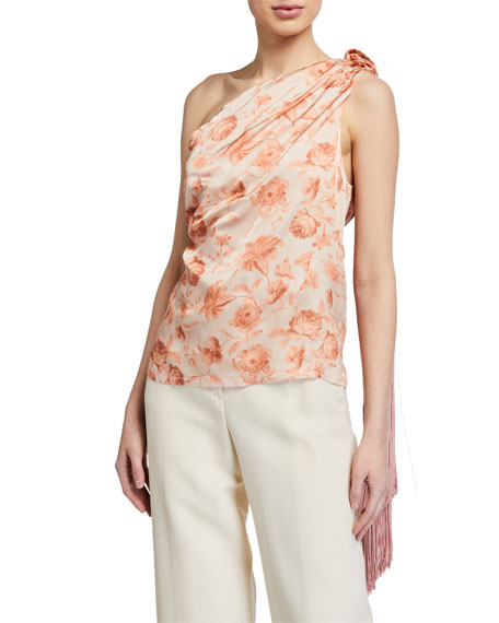 Image 1 of 2: Mother of Pearl Isla One-Shoulder Top w/ Tassel
