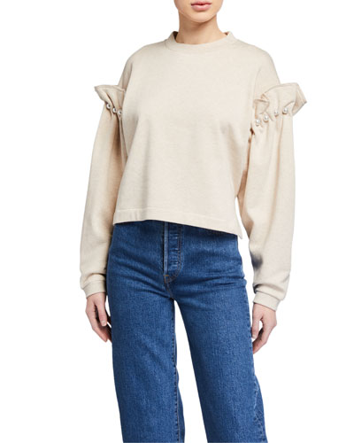 Dani Cropped Sweatshirt w/ Pearl Shoulders