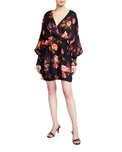 Julia Floral-Print Wrap Dress w/ Cuffs