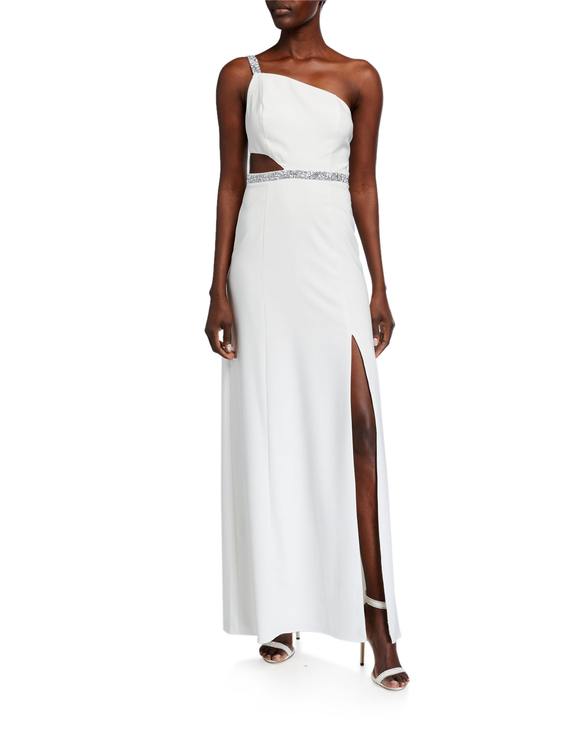 Aidan by Aidan Mattox Beaded-Trim One-Shoulder Crepe Gown