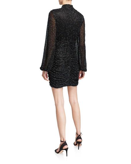Jay Godfrey Farre Beaded Long-Sleeve Mini Dress with Shirred Skirt