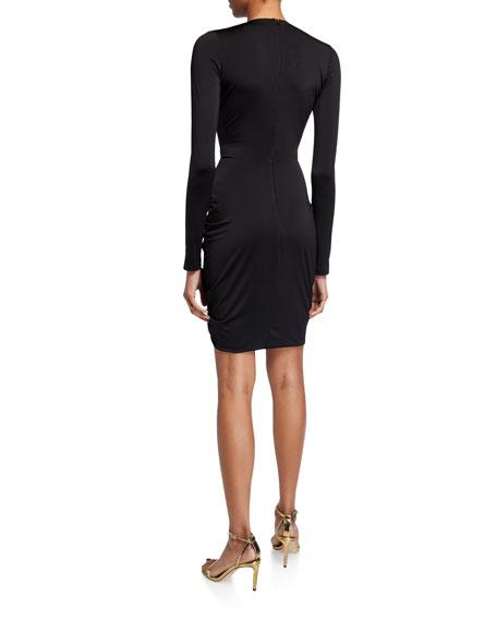 Black Halo Como Long-Sleeve Shirred Cocktail Dress