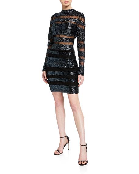 Jovani Beaded Striped High-Neck Long-Sleeve Dress