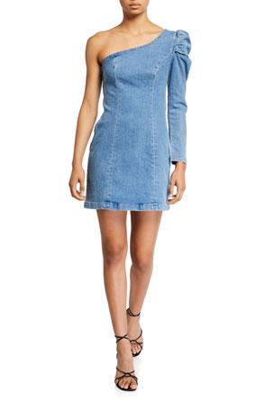 GRLFRND Elle Puff-Sleeve One-Shoulder Denim Dress