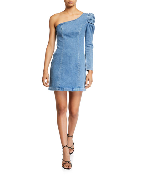 GRLFRND Elle Puff-Sleeve One-Shoulder Denim Dress