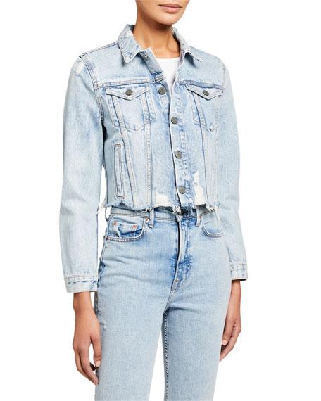 GRLFRND Cara Cropped Denim Jacket - You Wanna Go