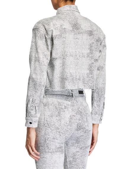 GRLFRND Christy Cropped Animal-Print Jacket