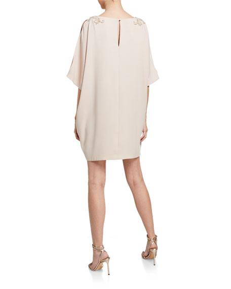 Aidan Mattox V-Neck Split-Sleeve Mini Crepe Dress