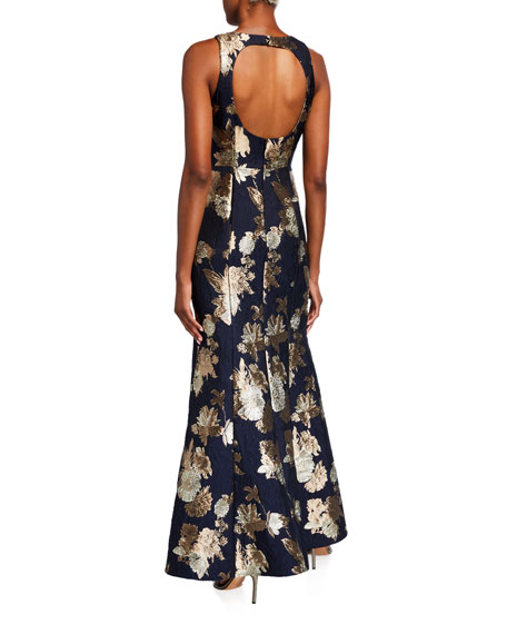 Image 2 of 2: Aidan Mattox Sleeveless Floral Jacquard Mermaid Gown